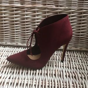 Aldo faux suede high heel booties.